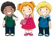 stock photo of school child  - A Small Group of Kids Ready to Go to School - JPG