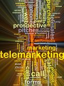stock photo of telemarketing  - Background concept wordcloud illustration of telemarketing glowing light - JPG