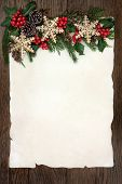 pic of ivy  - Christmas background border with gold snowflake bauble decorations - JPG