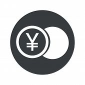 picture of yen  - Image of coin with yen symbol in black circle - JPG