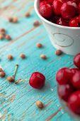 picture of cherries  - Sweet Cherry in Bowl on Rustic Table Ripe Fresh Wild Cherries Fruit - JPG