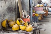 picture of shipyard  - Messy storage room and workshop of shipyard industry - JPG