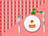image of breakfast  - breakfast in plate with fork and knife on tablecloth breakfast vector - JPG