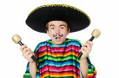 image of maracas  - Funny young mexican shaking maracas isolated on white - JPG