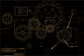 picture of steampunk  - Gold and black steampunk gears blueprint vector illustration - JPG