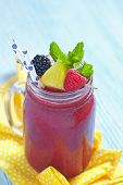 stock photo of blackberries  - Summer smoothie with blackberry - JPG
