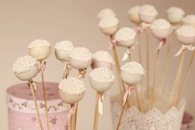 stock photo of cake pop  - Capture of delicious Cake pops on fancy decor - JPG