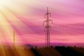 picture of electric station  - Electrical power lines - JPG