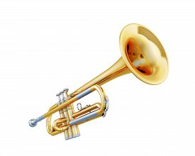 foto of wind instrument  - Trumpet isolated on a white background - JPG