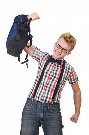 picture of heavy bag  - Student with heavy bag isolated on white - JPG
