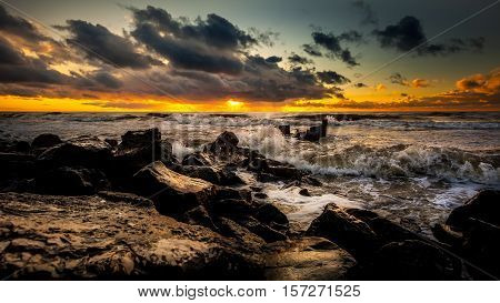 poster of Sunset. Beautiful Sunset Black Sea. Gold Sea Sunset. Picture Sea Sunset. Sea Sunset Background. Amaz