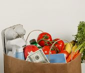 stock photo of grocery store  - Bag of groceries suggesting high price for food or cash back for savings - JPG