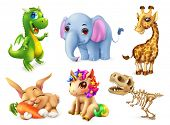 Funny animal set. Happy bunny, rabbit, cute unicorn, small dragon, baby elephant, giraffe, dinosaur. poster