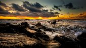 Постер, плакат: Sunset Beautiful Sunset Black Sea Gold Sea Sunset Picture Sea Sunset Sea Sunset Background Amaz