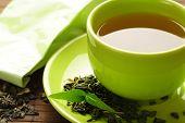 Постер, плакат: здоровый зеленый чай Кубок с листьях чая