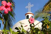 Playa del Carmen white Mexican church arches belfry Mayan Riviera