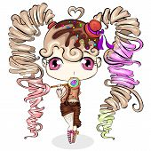 Cute Little Cartoon Girl With Sweet Candy. Character Design Vector poster