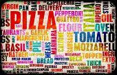 Постер, плакат: Пицца меню как концепция фон с начинками