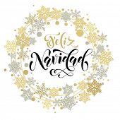 Spanish Merry Christmas Feliz Navidad. Golden and silver Christmas ornaments and wreath decoration o poster