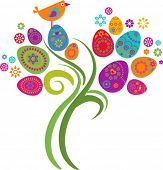 stock photo of easter basket  - Easter tree with colored eggs and flowers - JPG