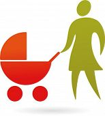 A silhouette of a mother with baby carriage