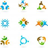 stock photo of people icon  - Collection of abstract human icons - JPG