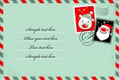 Christmas envelope with cute stamps