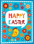 pic of greeting card design  - Easter greeting card with blue background - JPG