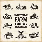 Vintage Farm Buildings Set. Editable EPS10 vector illustration in retro woodcut style with clipping  poster