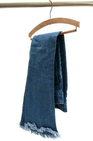pic of clothes hanger  - Trausers made of blue denim jeans hanging - JPG