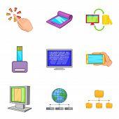 Portable Instrument Icons Set. Cartoon Set Of 9 Portable Instrument Icons For Web Isolated On White  poster
