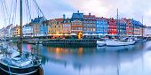Panorama Of North Side Of Nyhavn With Colorful Facades Of Old Houses And Old Ships In The Old Town O poster