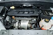 The Powerful Engine Of A Car. Internal Detail Design Of Engine. Car Engine Part. poster