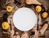Happy Thanksgiving Day. Without Roasted Chicken And Turkey. Empty White Plate With Pumpkin Decoratio poster
