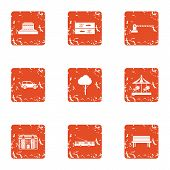 Guarded Playground Icons Set. Grunge Set Of 9 Guarded Playground Icons For Web Isolated On White Bac poster