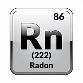 Radon Symbol.chemical Element Of The Periodic Table On A Glossy White Background In A Silver Frame.v poster