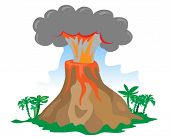 Exploding volcano on white background