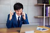 Handsome Businessman Gets Angry So Much When Customer Or Employee Is Nagging Him Or Telling Some Ter poster