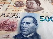 New Mexican Banknote Of 500 Pesos And Previous, Background And Texture poster