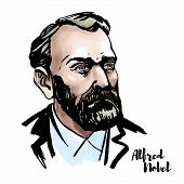 Alfred Nobel Watercolor Vector Portrait With Ink Contours. Swedish Chemist, Engineer, Inventor, Busi poster