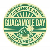 Guacamole Day, September 16, Rubber Stamp, Vector Illustration poster