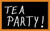 foto of tyranny  - Tea Party written on chalkboard - JPG