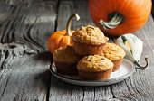 Pumpkin Muffins, Healthy Vegan Snack, Thansgiving And Autumn Dessert, Selective Focus, Toned Image poster