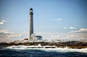 Vignetted Image Of Boon Island Lighthouse At Low Tide In Maine On A Summer Day. It Is The Tallest Li poster