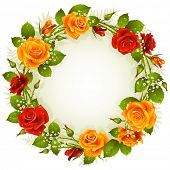 stock photo of yellow rose  - Vector red and yellow rose frame in the shape of circle - JPG
