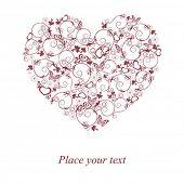 Постер, плакат: Декоративные сердца с цветком и бабочек