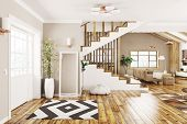 Modern Interior Design Of House, Hall, Living Room With Staircase 3d Rendering poster