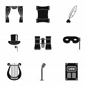 Concert Icons Set. Simple Illustration Of 9 Concert Icons For Web poster