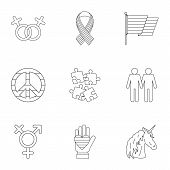 Culture Lgbt Icons Set. Outline Illustration Of 9 Culture Lgbt Icons For Web poster