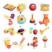 Kindergarten Items Icons Set. Cartoon Illustration Of 16 Kindergarten Items Icons For Web poster